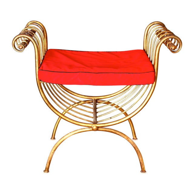 Italian Gilded Metal Stool/Bench with Cushion - Image 1 of 6