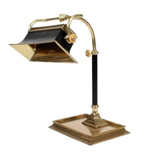 Large Rectangular Brass Desk Lamp with Fist