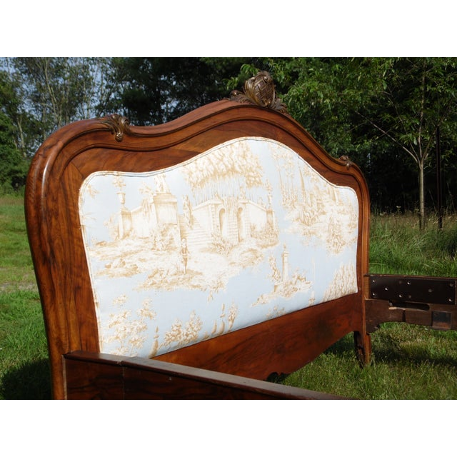 Antique French Louis XV Carved Solid Wood Toile Upholstered Full Double Bed - Image 8 of 11