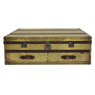 Brass and Leather Trunk Coffee Table
