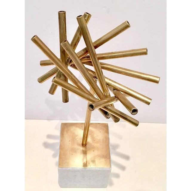 Modern Brass & Marble Abstract Tubular Sticks Sculpture - Image 3 of 9