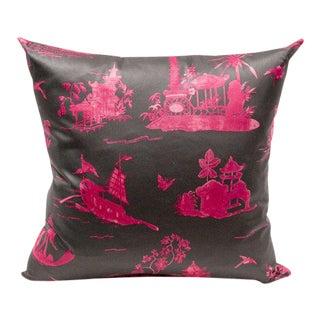 Coromandel Fuchsia Toile Pillow