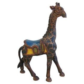 1940s Hand-Carved Wooden Carousel Giraffe