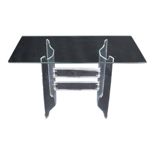 Compact Dining Dinette Console Bent Lucite Base Glass Top Table