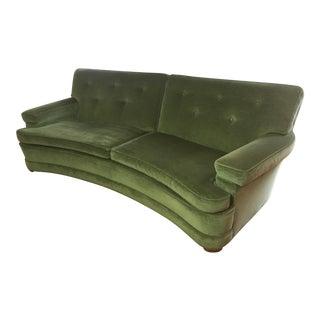 Modernist Hollywood Regency Curved Green Velvet Sofa