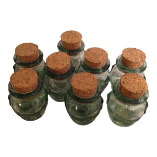 Blue Bubble Glass Jars & Cork Stoppers - Set of 8