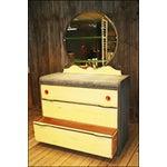 Image of Vintage Distressed Art Deco Waterfall Dresser & Mirror