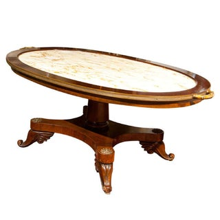 Jansen French Mahogany Marble Top Coffee Table