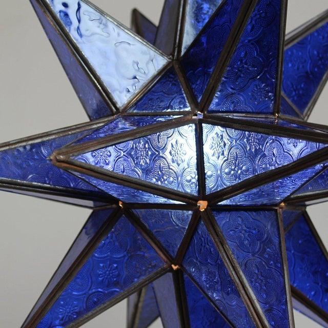 Moroccan Blue Star Lantern - Image 2 of 2