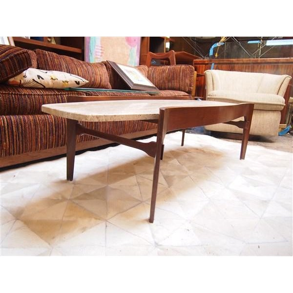 Travertine & Wood American Modern Coffee Table - Image 3 of 4