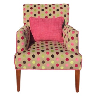 Pink Chenille Polka Dot Upholstered Chair