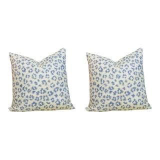 Blue Leopard Spot Pillows - A Pair