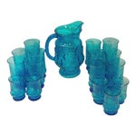 Turquoise Glass Pitcher and Tumblers Set of 17