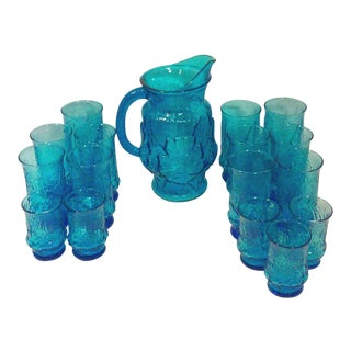 Turquoise Glass Pitcher and Tumblers Set of 18