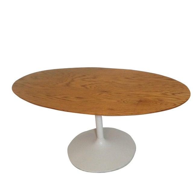 Saarinen style tulip base oval dining table chairish - Oval saarinen dining table ...