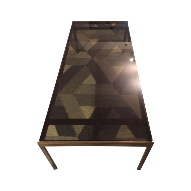 Brass and Smoked Glass Coffee Table - Image 1 of 4