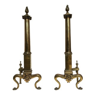 Antique English Fireplace Andirons - A Pair
