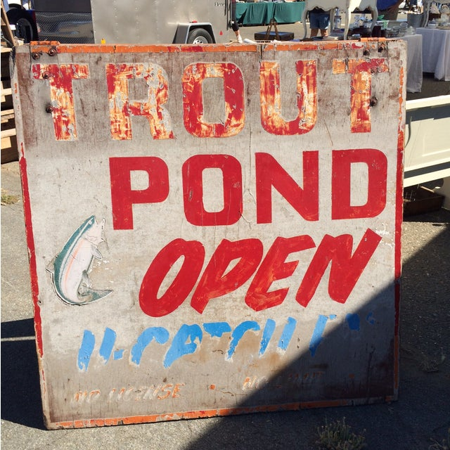Vintage Double-Sided Trout Sign - Image 2 of 3