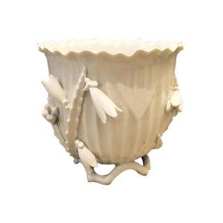 Mid-Century White Porcelain Floral Cachepot