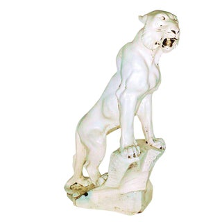 Large 1930's Art Deco White Tiger Sculpture