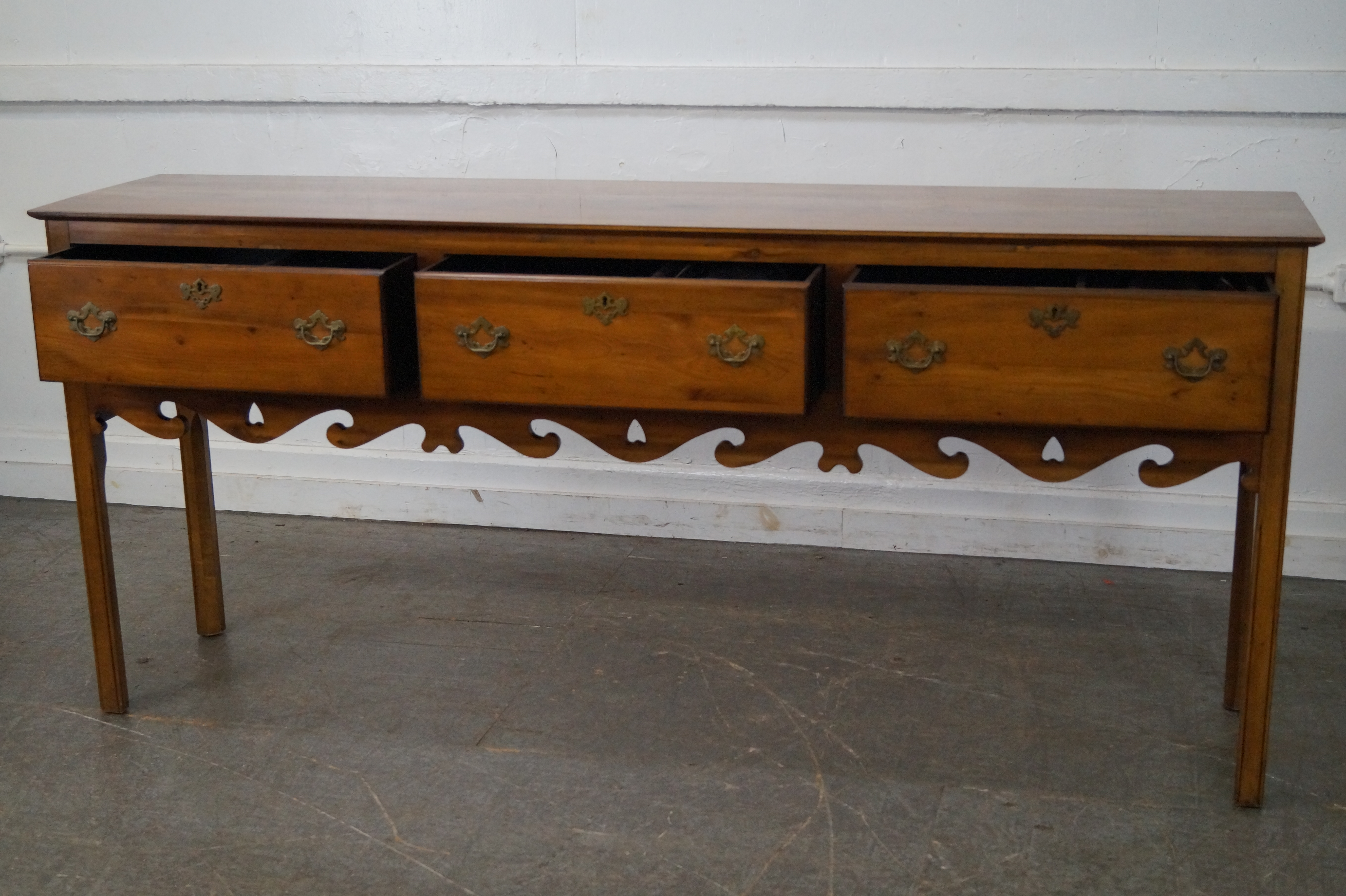 Wright Table Company Yew Wood 3 Drawer Hunt Board Sideboard   Image 7 Of 10