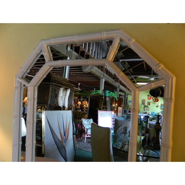 Vintage White Lacquer Faux Bamboo Mirror - Image 3 of 5