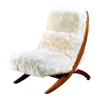 Oak Lounge Chair with White Sheepskin, USA, 1950s
