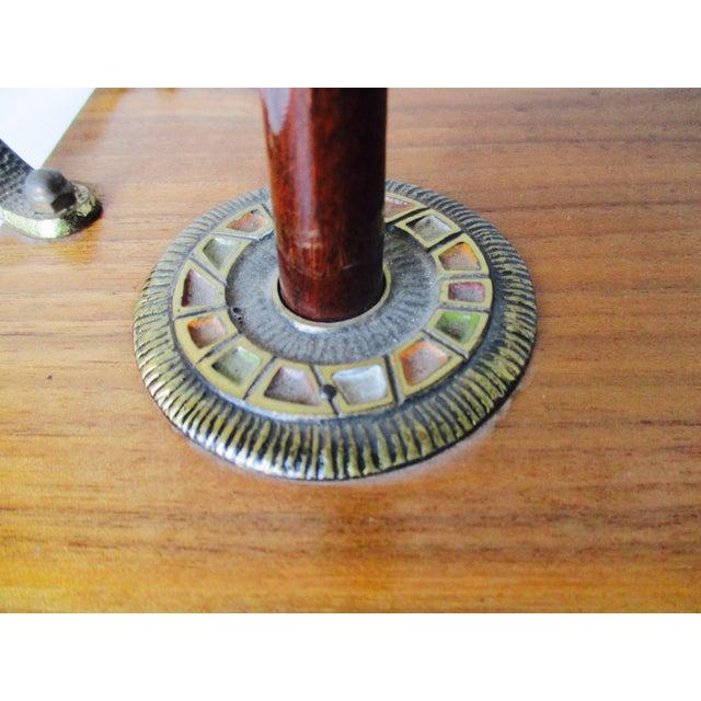 Israeli Enameled Brass Mounted Wooden Bagel Serving Tray - Image 4 of 9