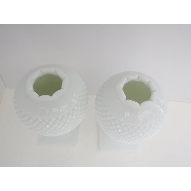Milk Glass Diamond Point Vases - A Pair - Image 3 of 5