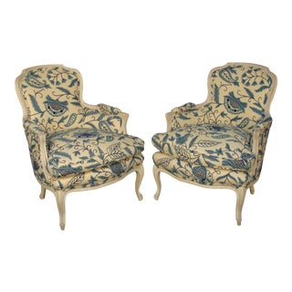 French Louis XV Style Bergere Chairs - A Pair