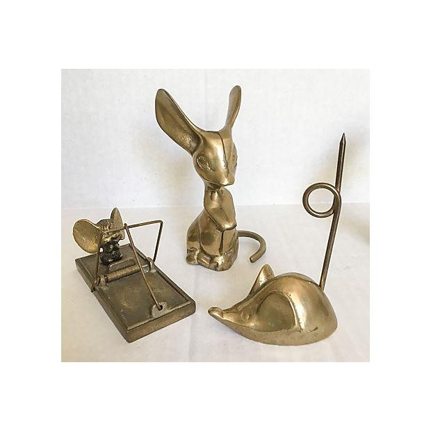 Image of Mid-Century Brass Mouse Collection - Set of 5