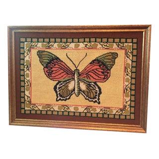 Framed Needlepoint Butterfly Wall Art