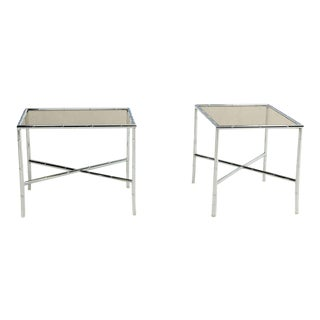 Pair of Faux Bamboo Chrome and Smoked Glass End Tables