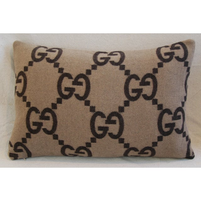"""23"""" X 16"""" Custom Tailored Gucci Cashmere & Velvet Feather/Down Pillows - Pair - Image 11 of 11"""