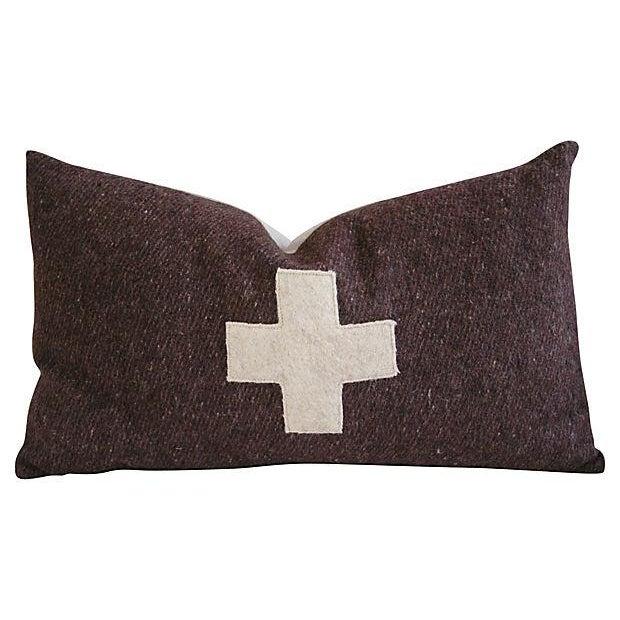 Swiss Wool Appliqué Cross Pillow - Image 1 of 4
