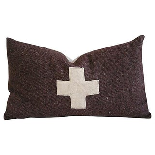 Swiss Wool Appliqué Cross Pillow