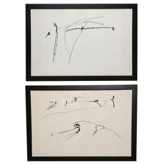 Pair of Framed Inks on Paper by Philip Renteria