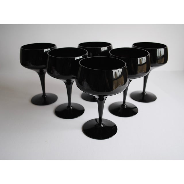 Image of Mid-Century Black Cocktail Glasses - Set of 6