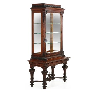 1890 Antique Carved Mahogany Two-Part Display Cabinet Vitrine