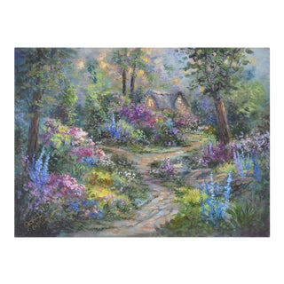 Blooming Forest Cottage Oil Painting