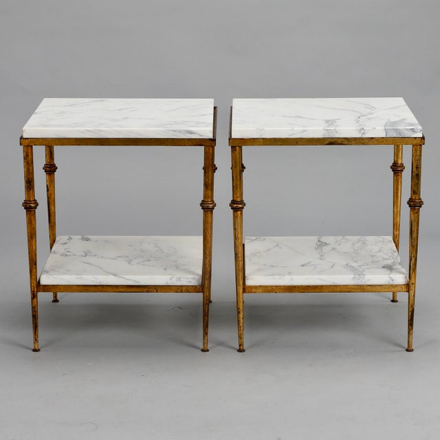 Pair of Spanish Gilt Metal and White Marble Side Tables - Image 8 of 11