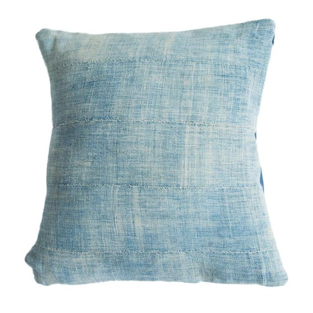 Vintage Light Blue Indigo Pillow - Image 1 of 5