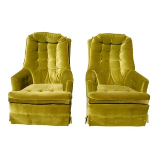 Mid Century Tufted Green Velvet Swivel Chairs - a Pair
