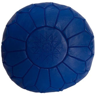 Embroidered Leather Pouf in Blue Majorelle (Stuffed)