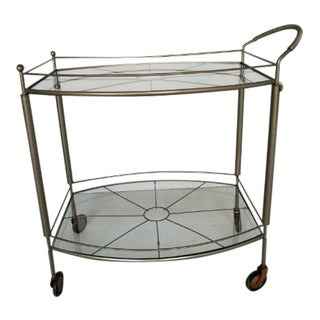 Vintage 2-Tier Glass Bar Cart