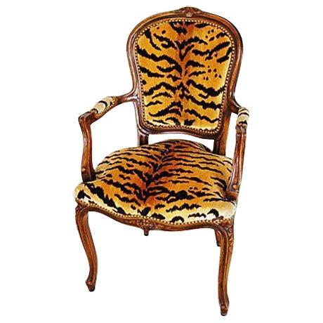 1940s Italian Scalamandre Le Tigre Velvet Armchair - Image 1 of 8