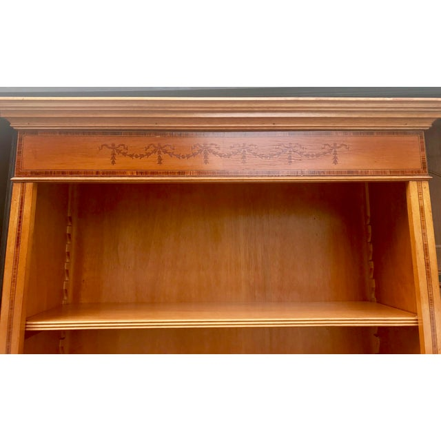 English Yew Wood & Satinwood Inlay Bookcase - Image 7 of 9
