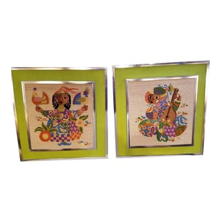 Bjorn Wiinblad Design Handmade Framed Needlepoint - A Pair