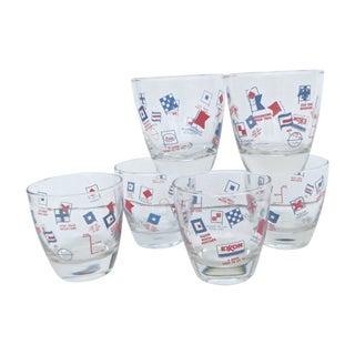 Nautical Flag Glasses - Set of 6