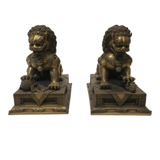 Vintage Bronze Foo Dogs Figurines - A Pair